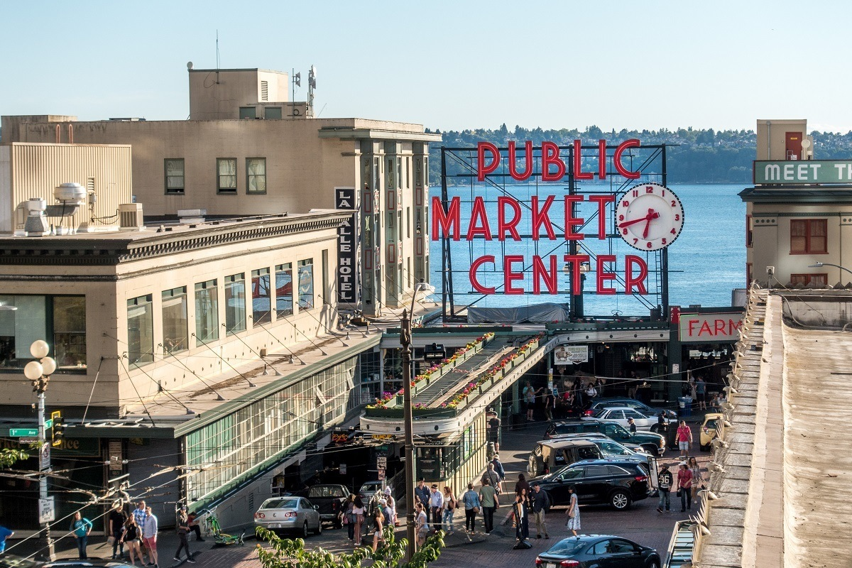 Pike Place Market sign in Seattle, Washington