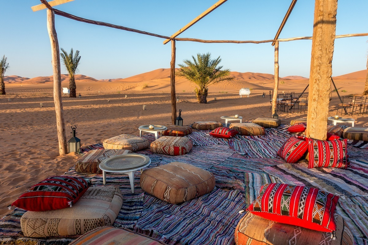 Seating area with colorful pillows in the desert