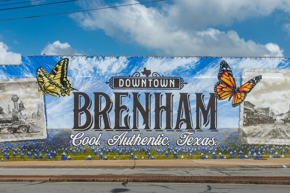 """Butterfly mural labeled """"Downtown Brenham: Cool. Authentic. Texas"""""""
