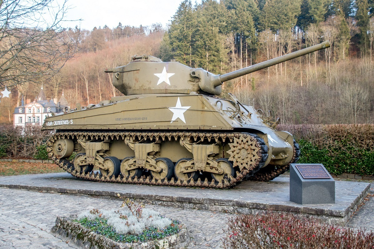 Green Sherman tank from the Battle of the Bulge