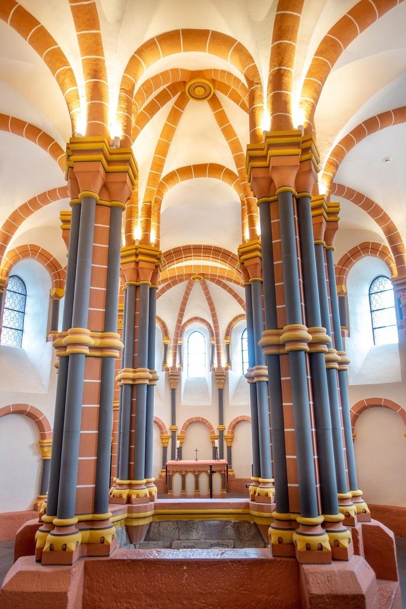 Columns and vaulted ceiling in Vianden Castle chapel