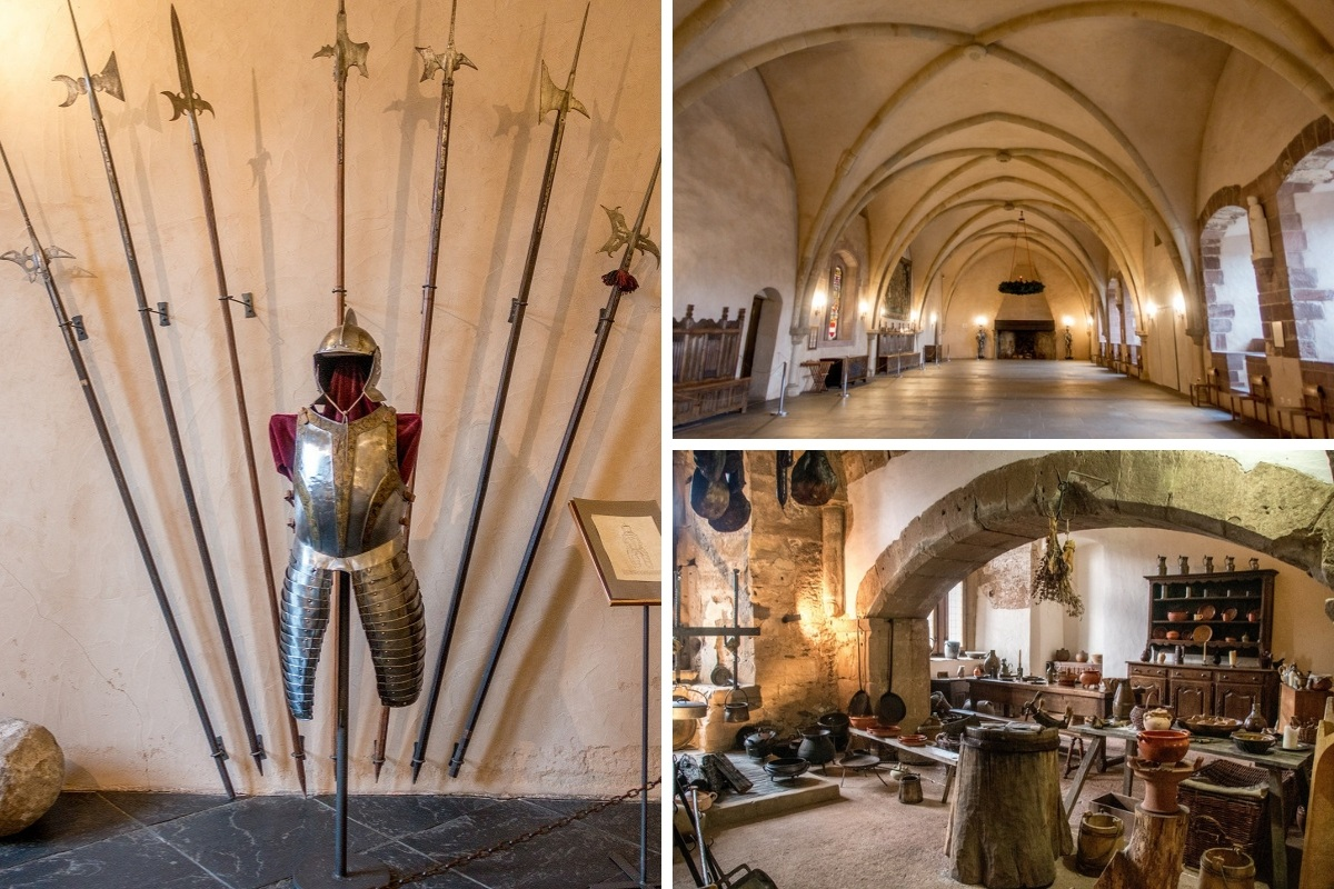 Suit of armor, vaulted ceilings, and kitchen details of Vianden Castle