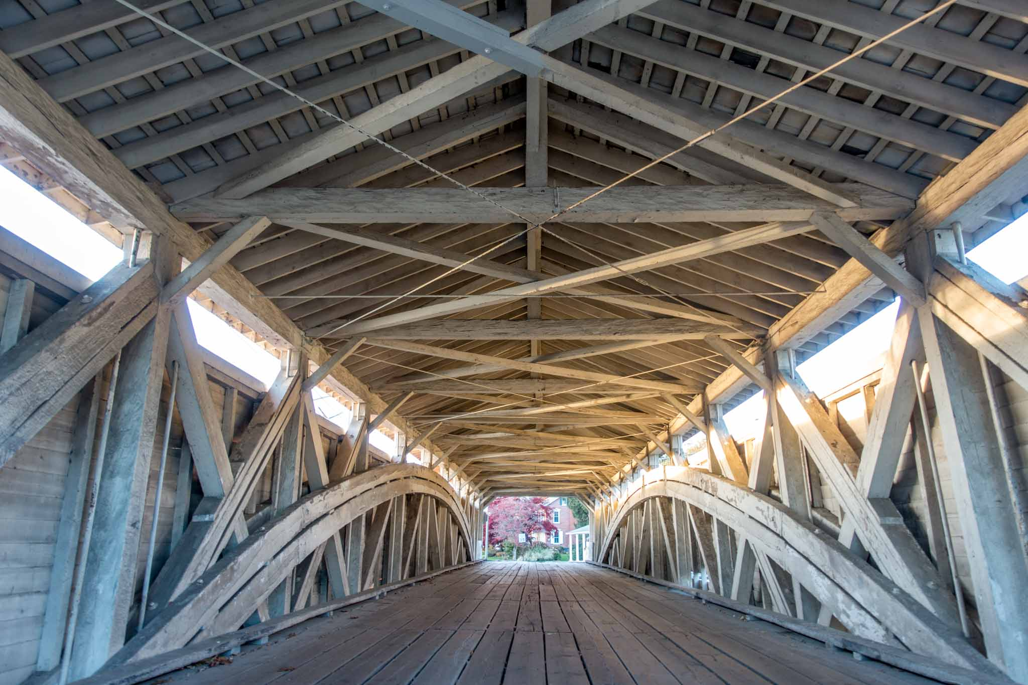 Wooden interior of a covered bridge