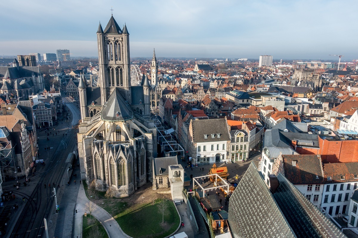View of St. Nicholas Church and downtown Ghent from above
