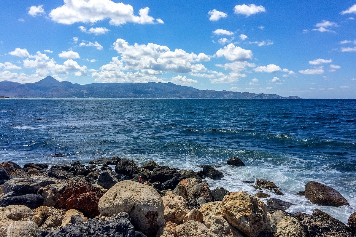 The blue waters of the port of Heraklion