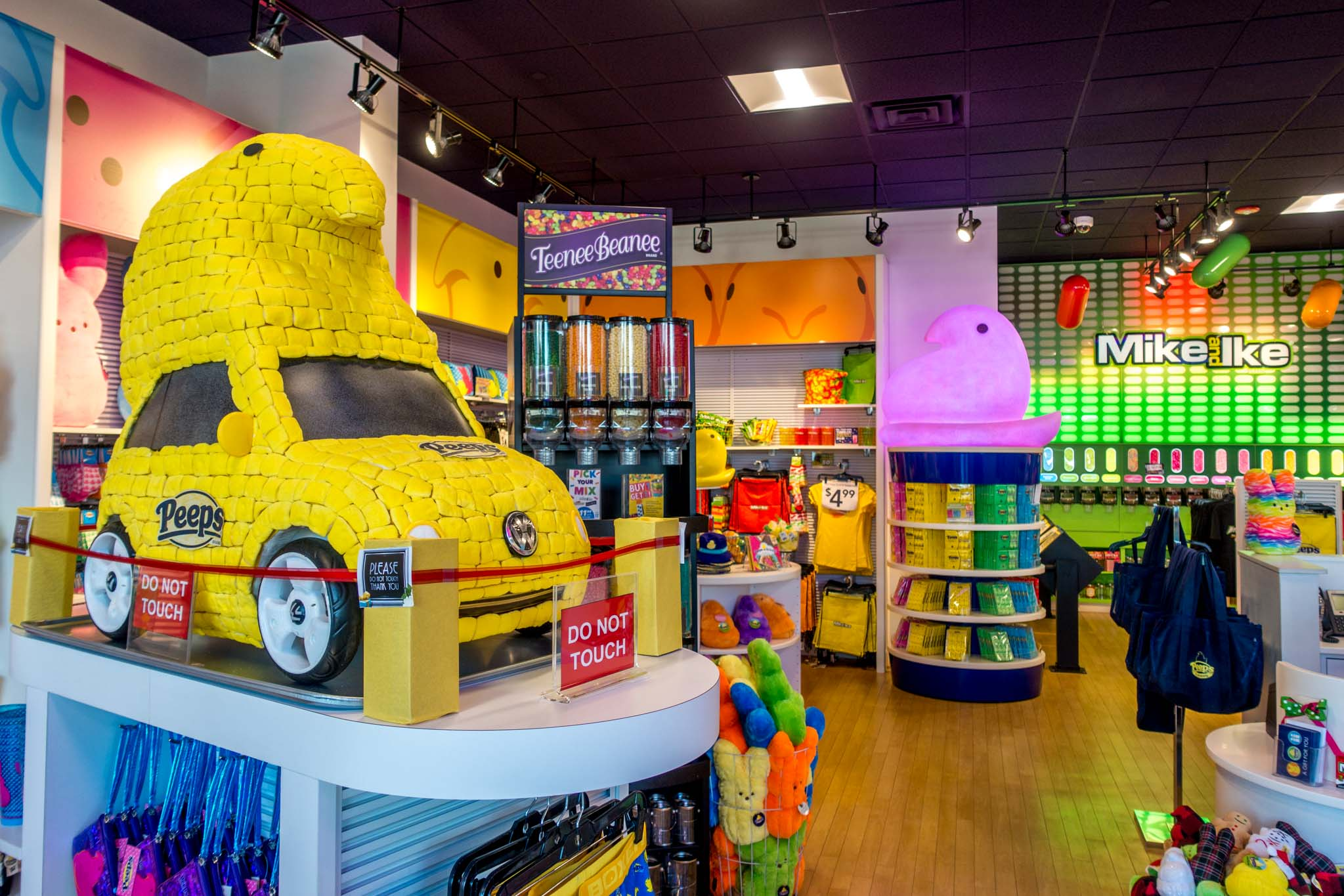 Yellow car made of Peeps candy displayed in a store