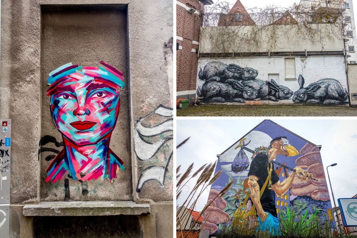 Street art murals with people and animals