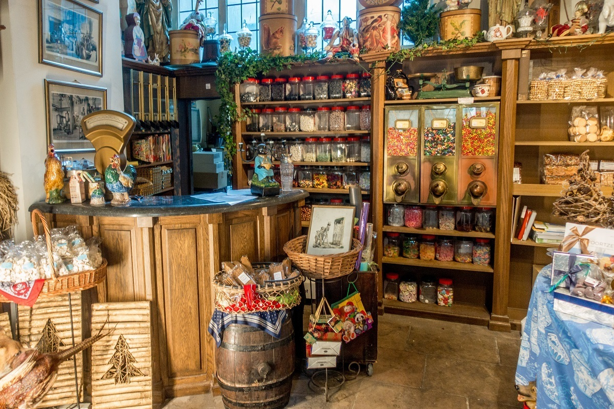 Interior of old-fashioned candy shop, Temmerman