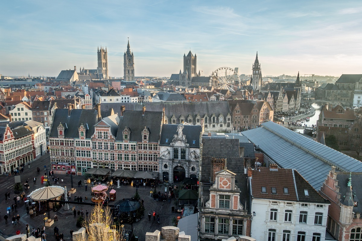 View of towers and Ghent city center from Gravensteen castle