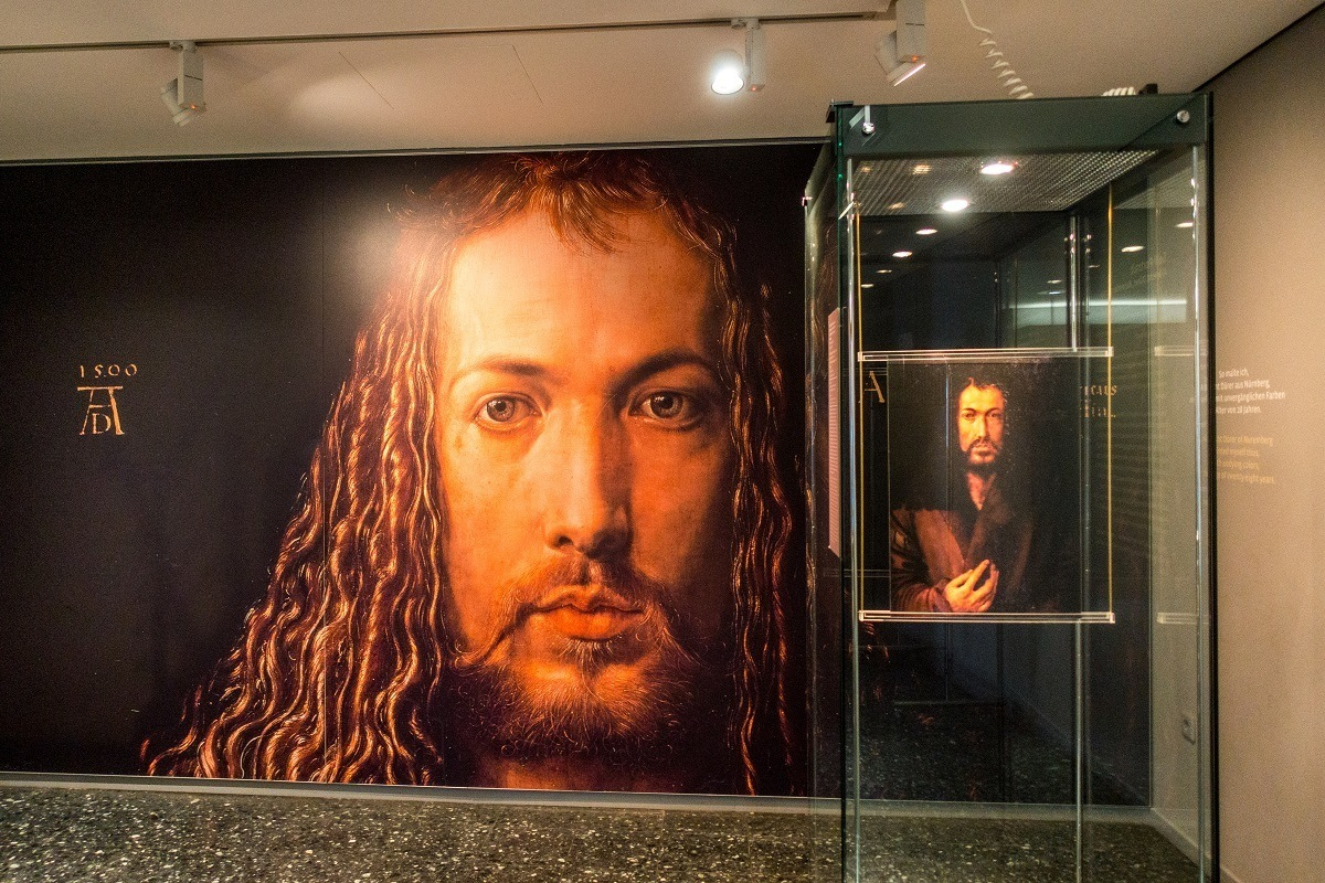 Wall-sized self-portrait of man in the Albrecht Durer House