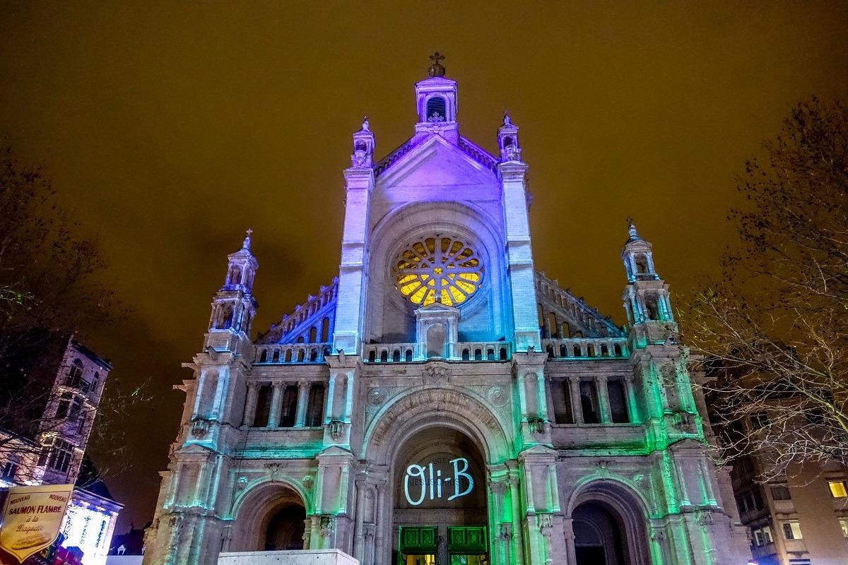 Church lit up for Christmas light show
