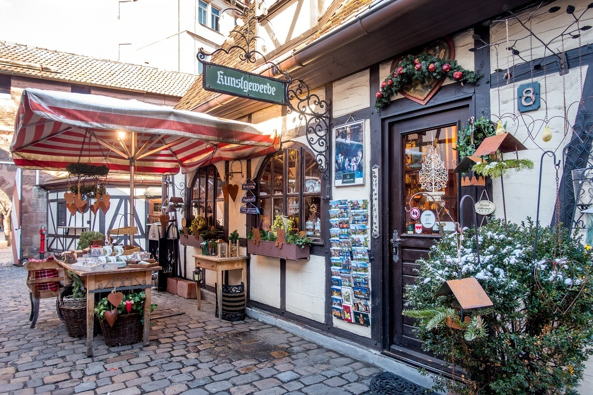 Half-timbered shop in Handwererkhof, one of the tourist attractions in Nuremberg