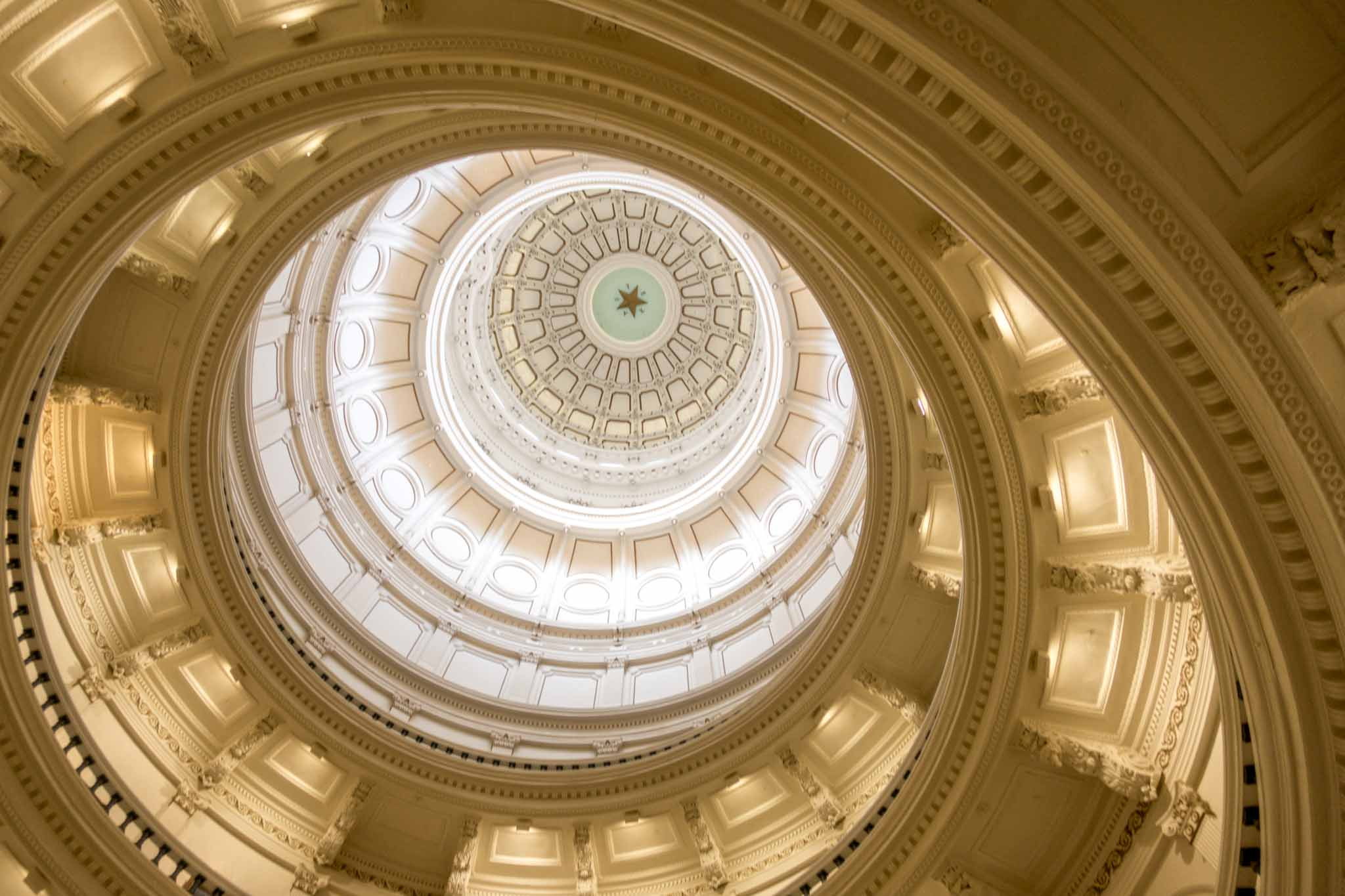 Circular pattern inside the dome of the Texas State Capitol building in Austin TX