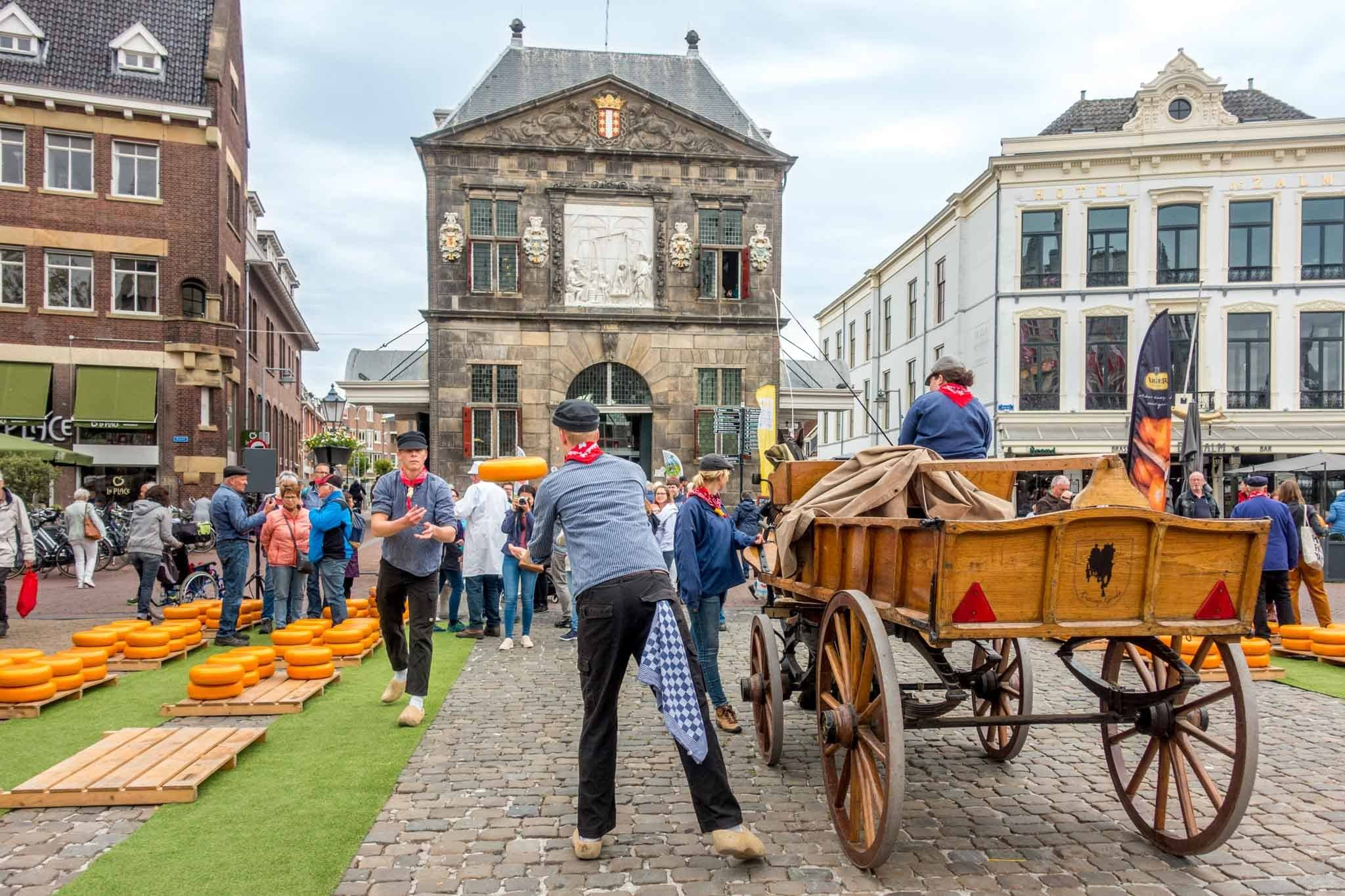 The Gouda Cheese Market re-enacting the sale of the town's namesake cheese