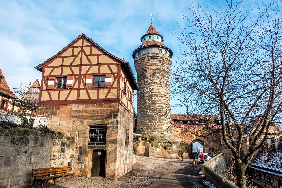 Round tower and half-timbered building at the Imperial Castle in Nuremberg Germany