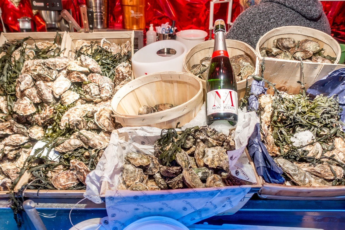 Oysters and champagne for sale