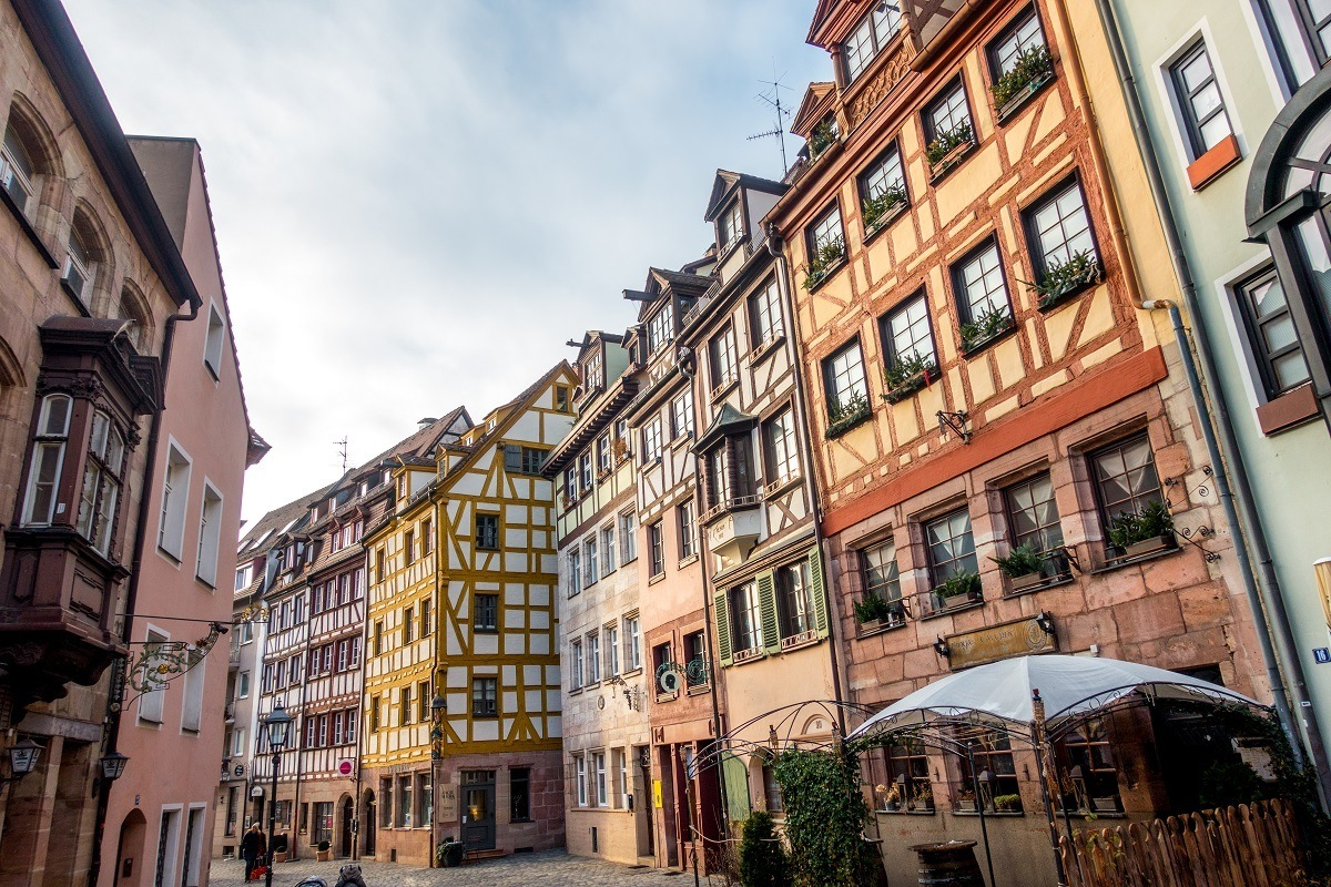 Medieval half-timbered buildings lining a street