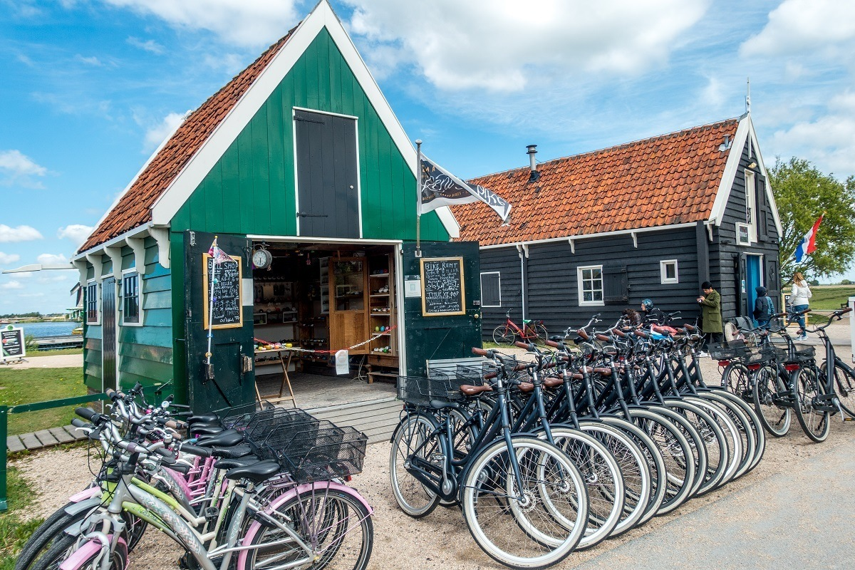Bicycles lined up for rental