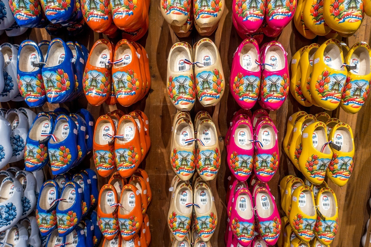Multi-colored clogs for sale at the clog workshop