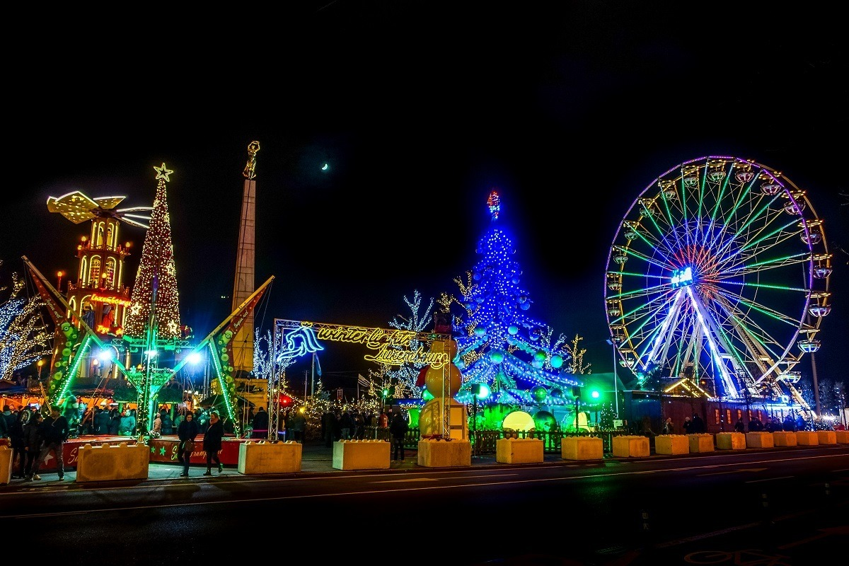 Carnival rides and Christmas lights at the Luxembourg City Christmas market