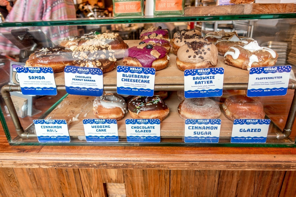 Unique flavors of donuts in display case