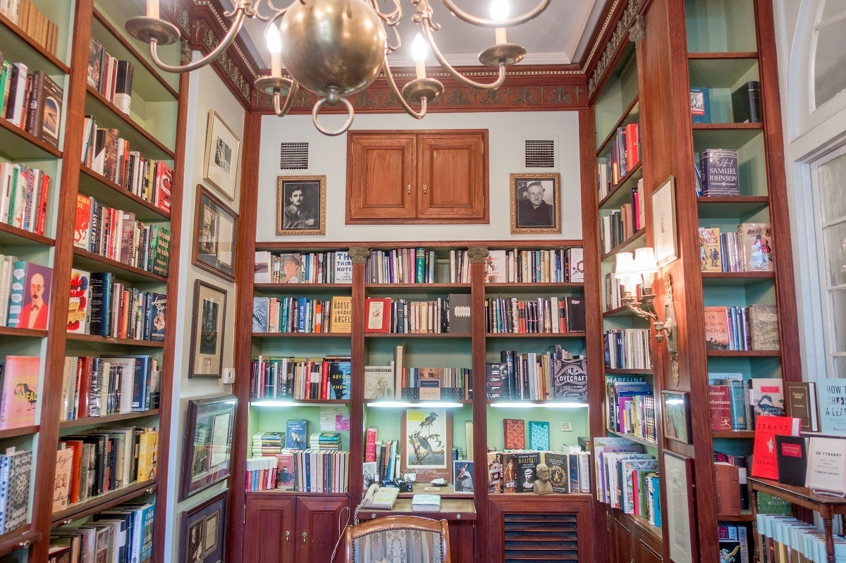 Book-lined walls inside a bookstore