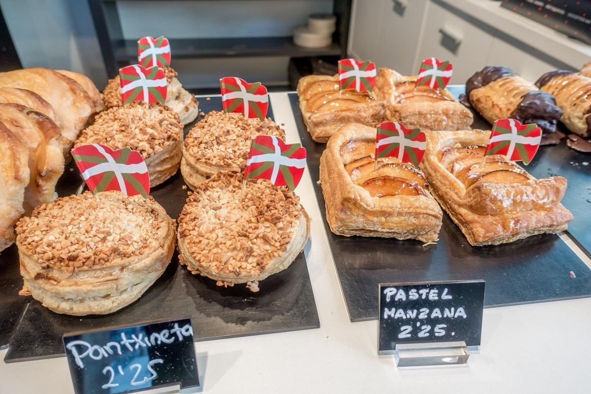 Pantxineta and pastel manzana pastries for sale