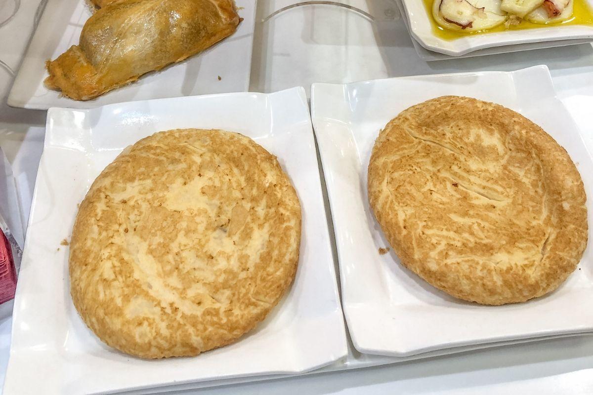 Tortilla, an egg dish, on a plate