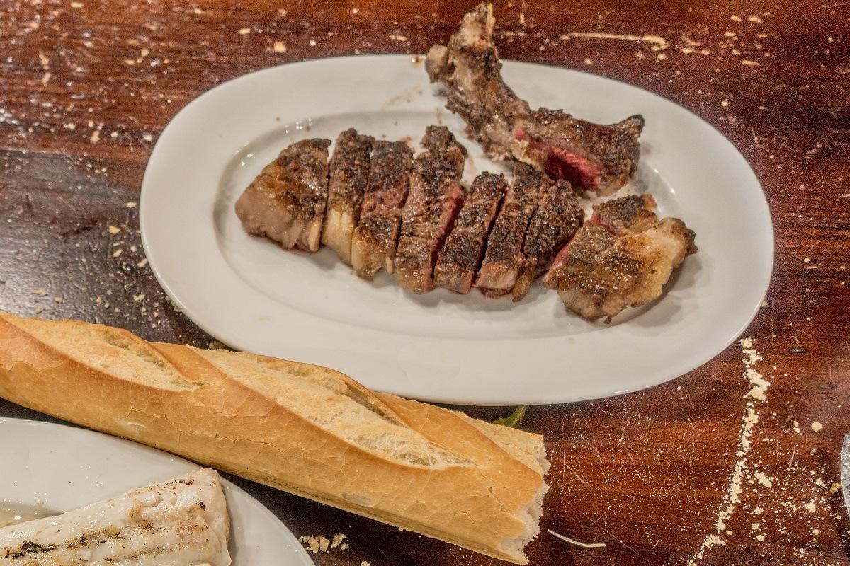 Txuleta, a bone-in steak, on a plate