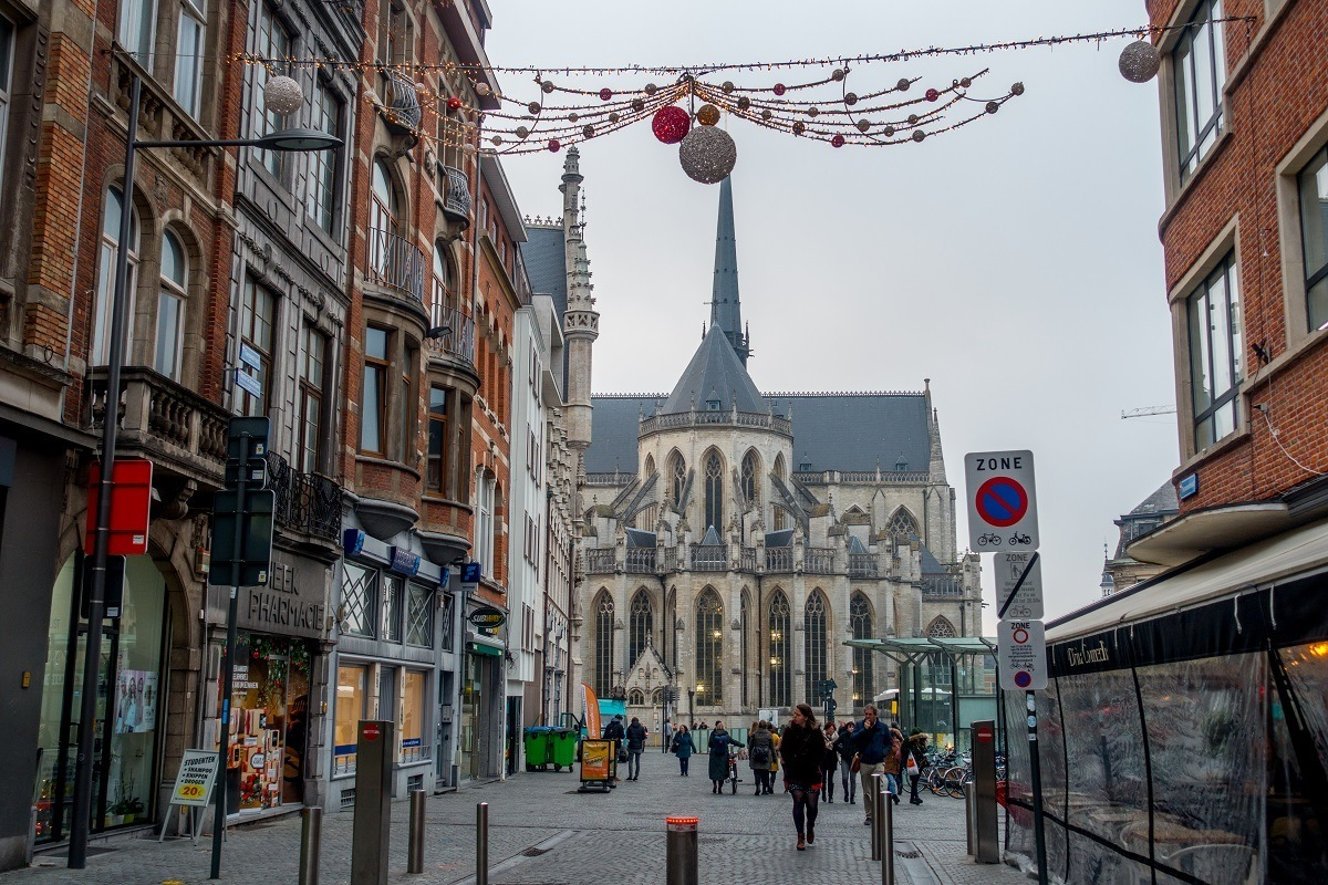 Street decorated for winter and the Christmas season
