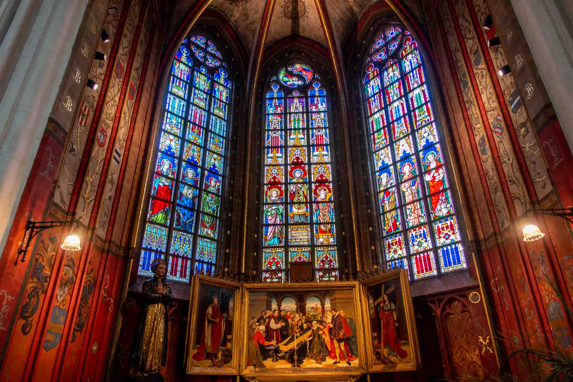 Stained glass and art in a cathedral