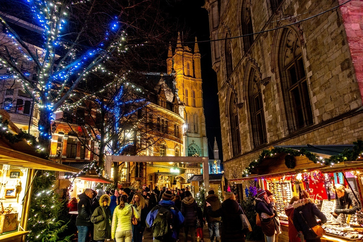 Vendors and shoppers in the streets  at Christmas