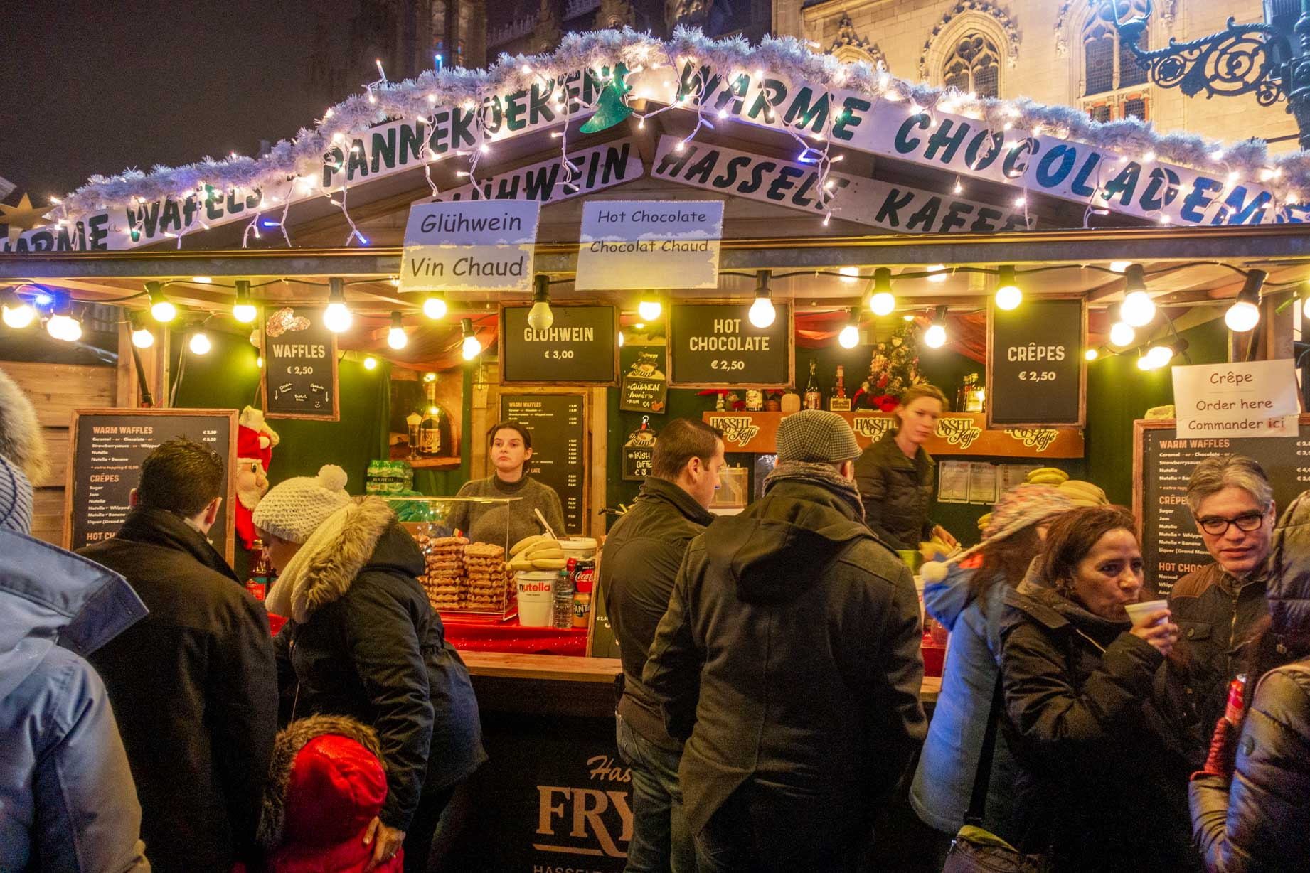 Shoppers lined up to buy drinks at the Christmas market