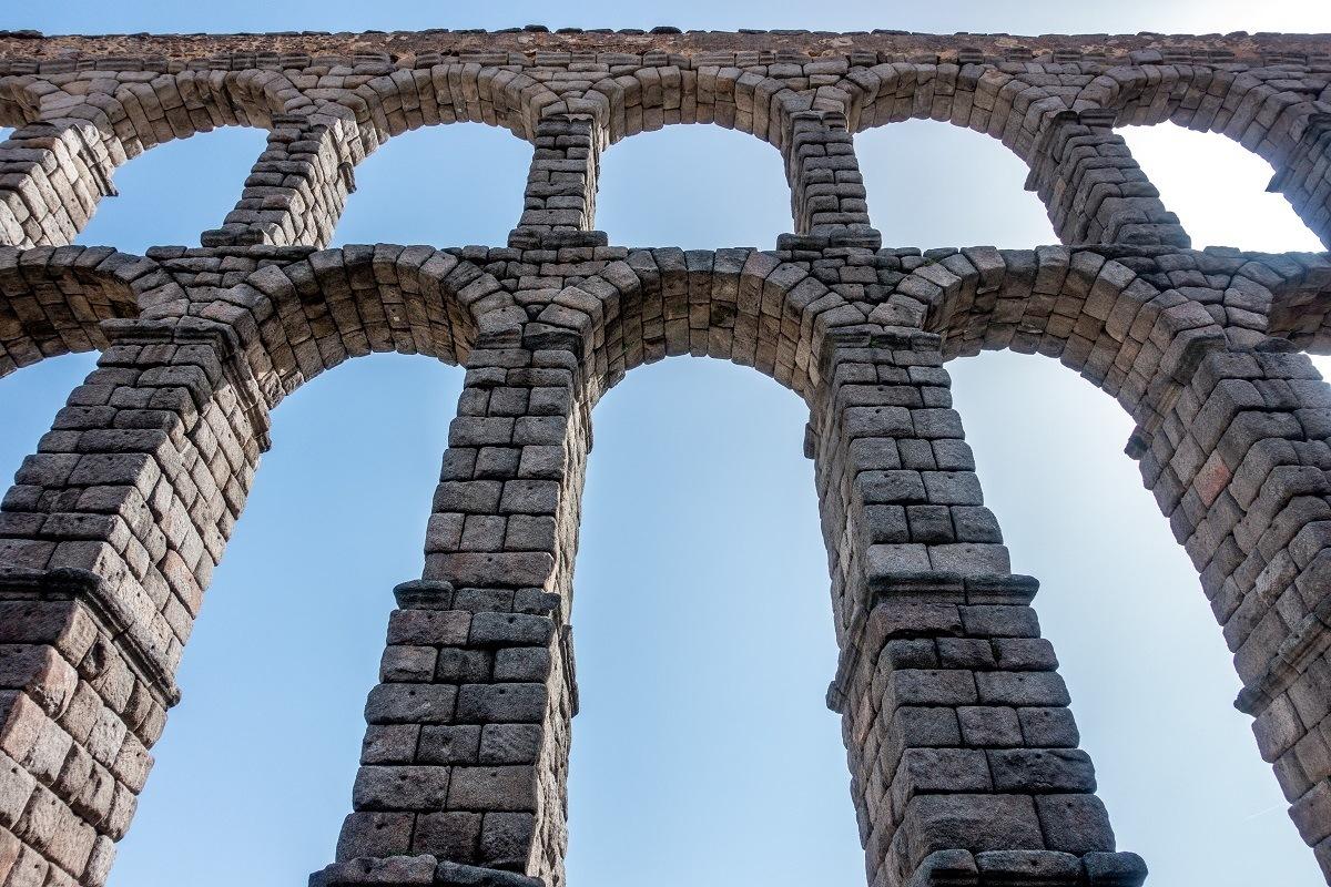Arches of massive stone Roman aqueduct