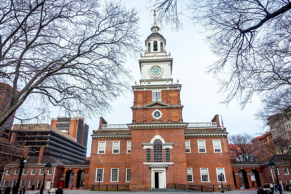 Exterior of brick building with clock tower, Independence Hall