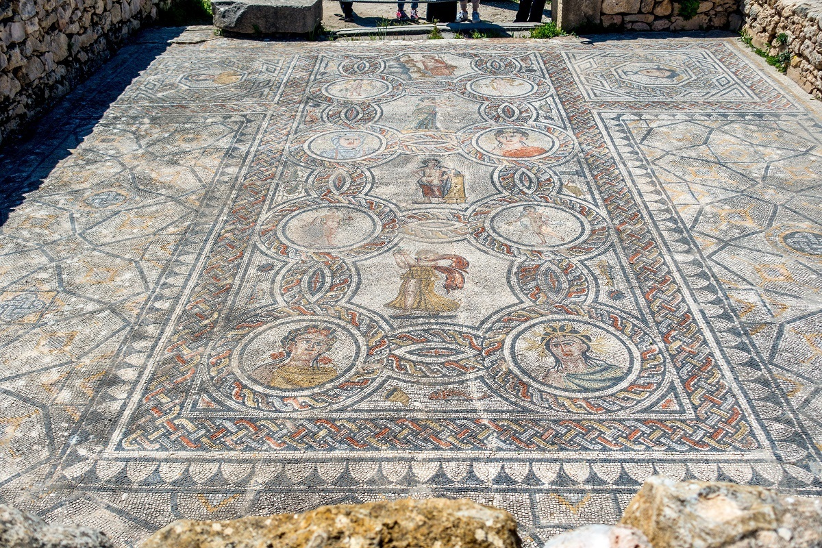 Colorful mosaic in the House of Dionysus and the Four Seasons