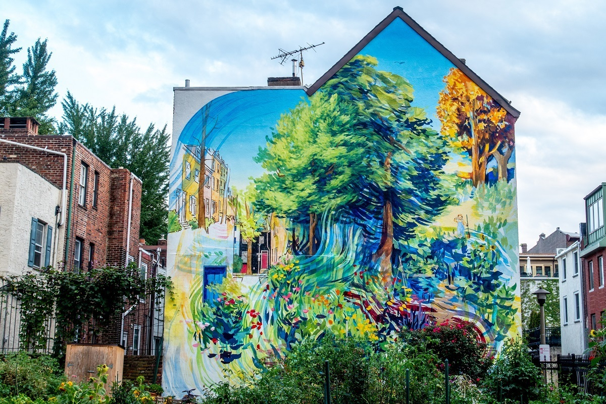 Garden of Delight, a street art mural with trees and plants