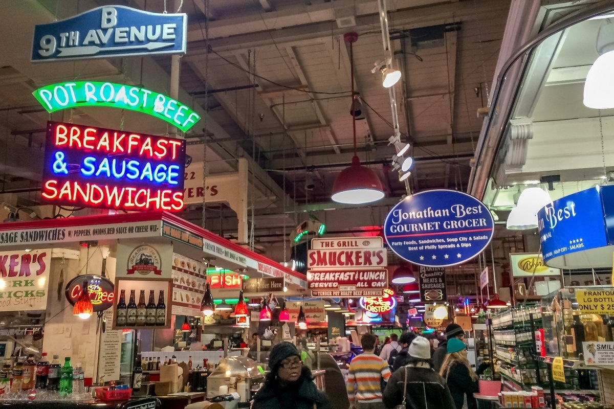 Food vendors and signage for the businesses