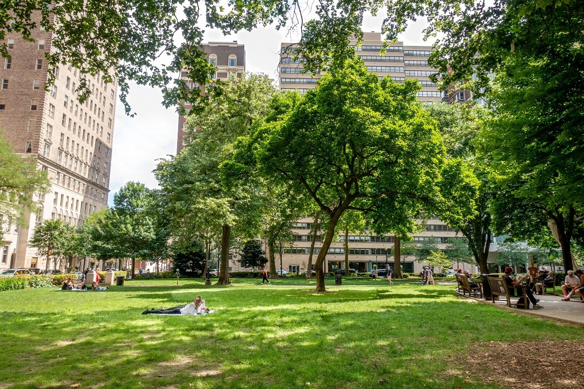 People sitting on benches and in the grass in tree-filled park
