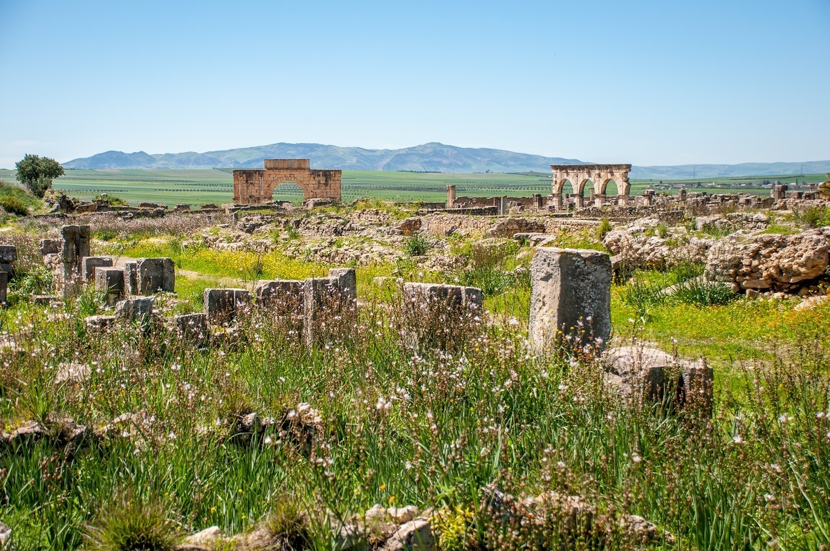 A panoramic view of the Volubilis Morocco ruins