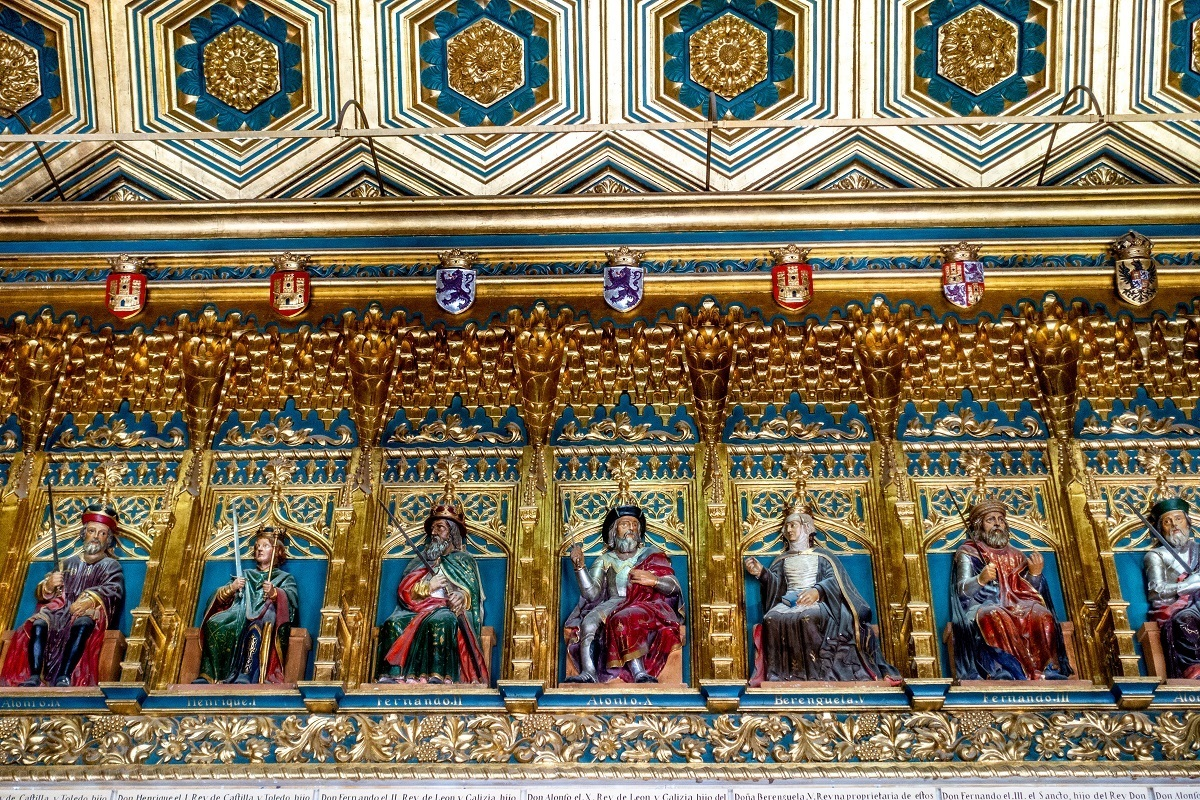 Carvings of kings painted bright colors
