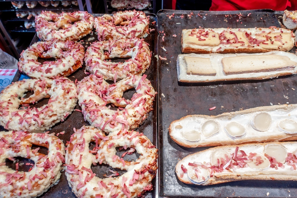 Bretzels and baguette flambée for sale