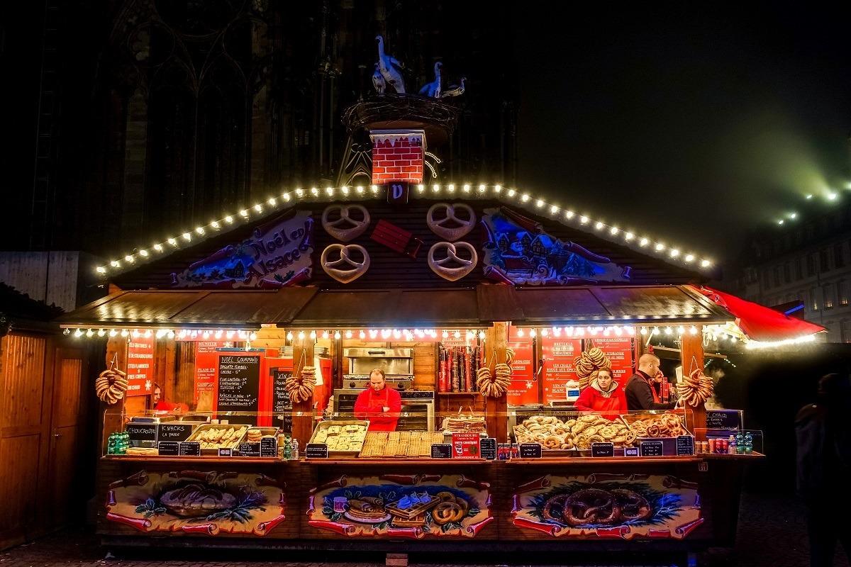 Alsatian food stand selling pretzels
