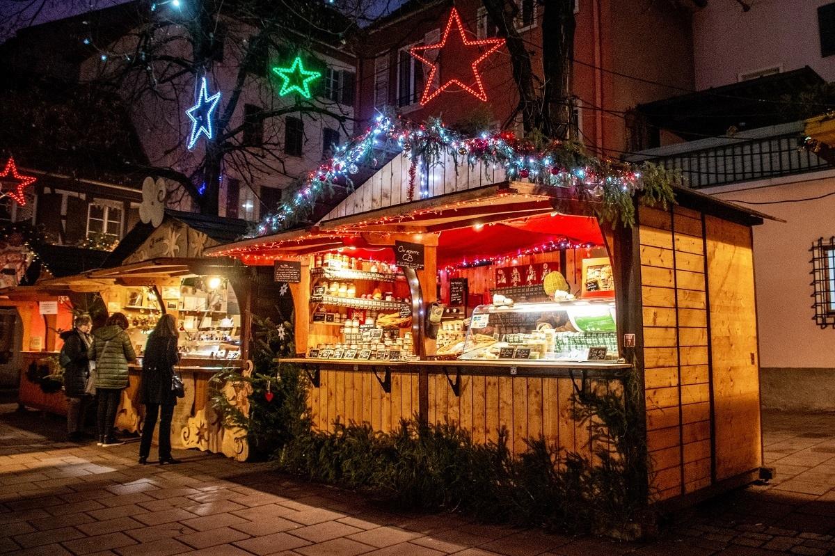 Vendor stall with Christmas lights