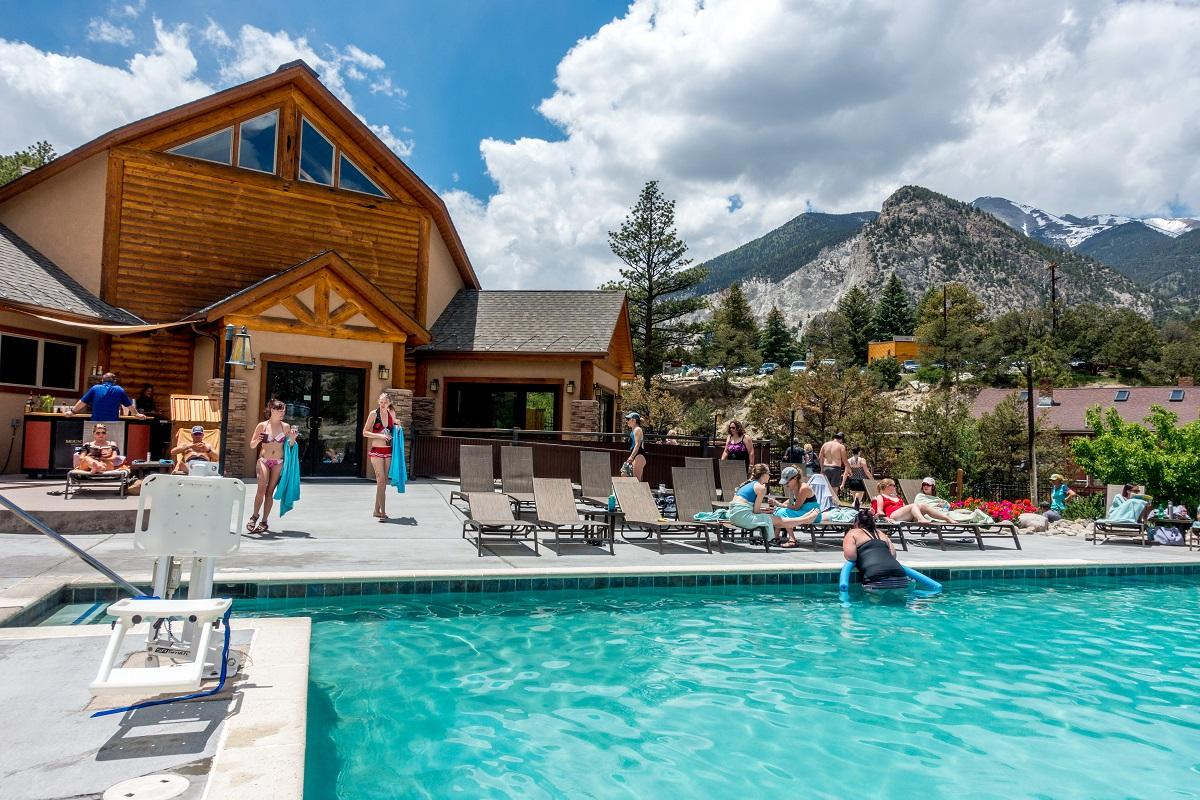 People at Mount Princeton hot springs in the mountains