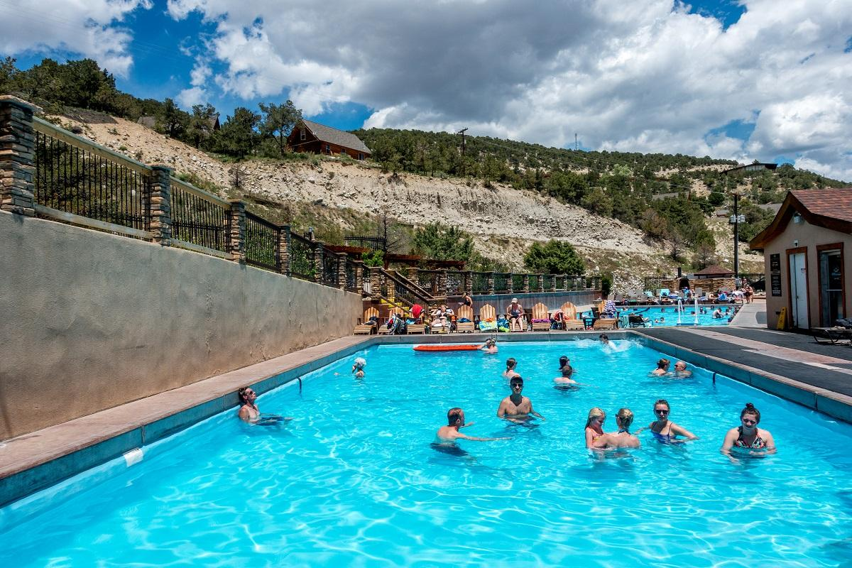 Families in the Mount Princeton hot springs pool