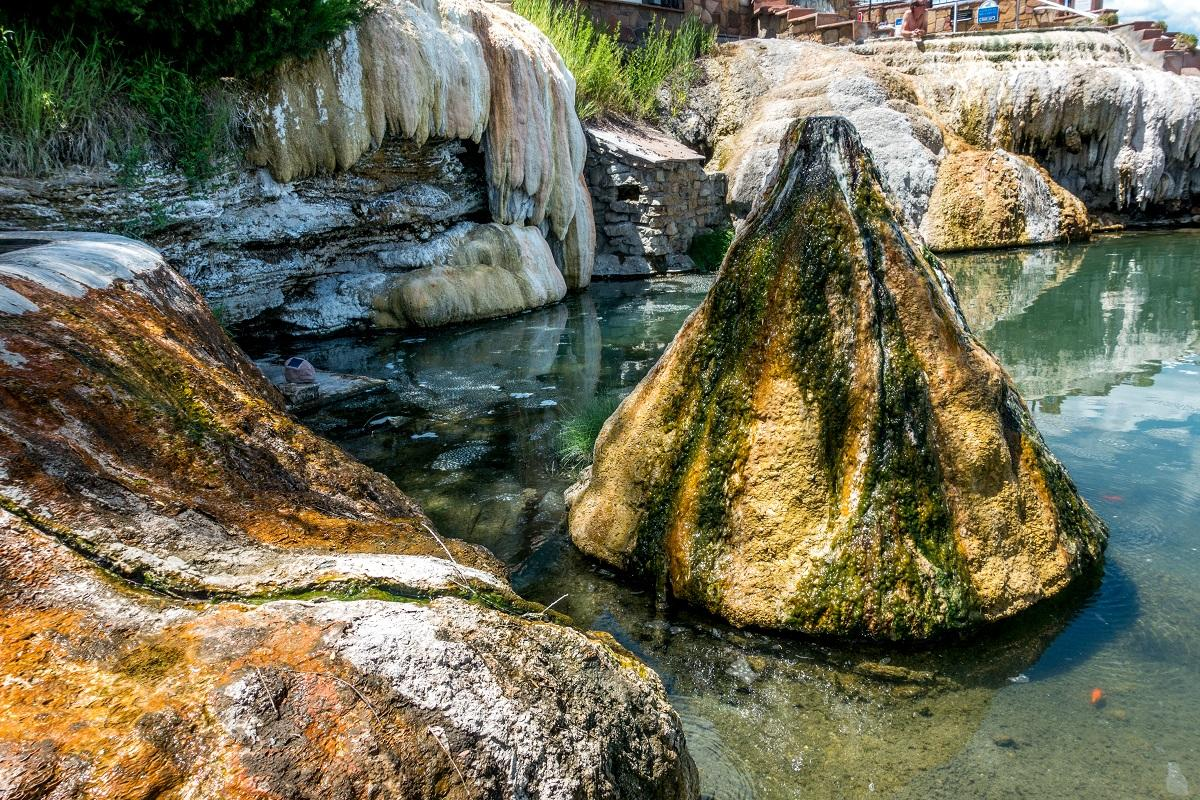 Hot springs have high mineral content, including calcium and sulfur
