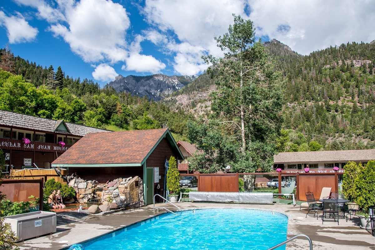 Outdoor hot springs pool at Twin Peaks in Ouray