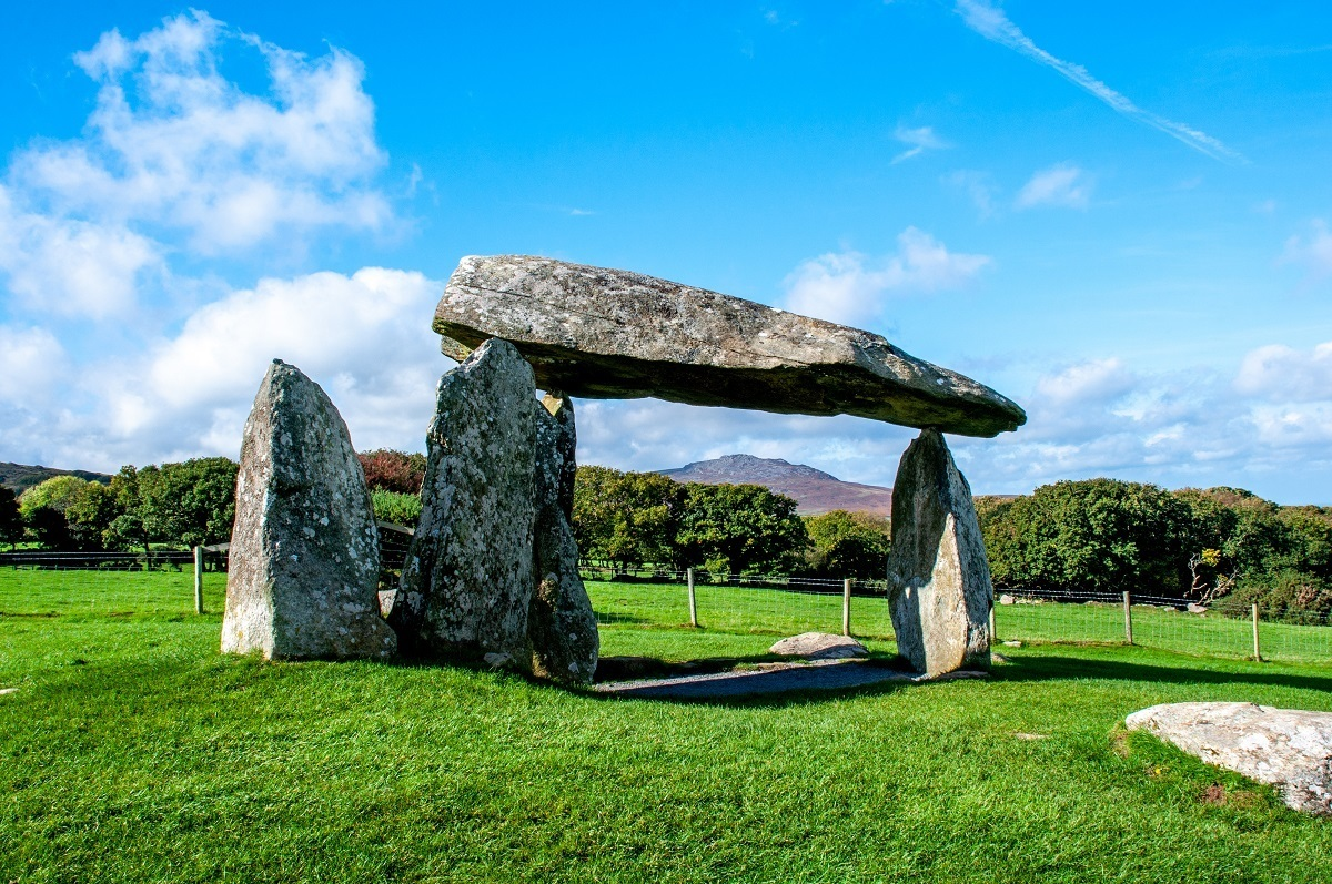 Stones mark the Pentre Ifran burial chamber