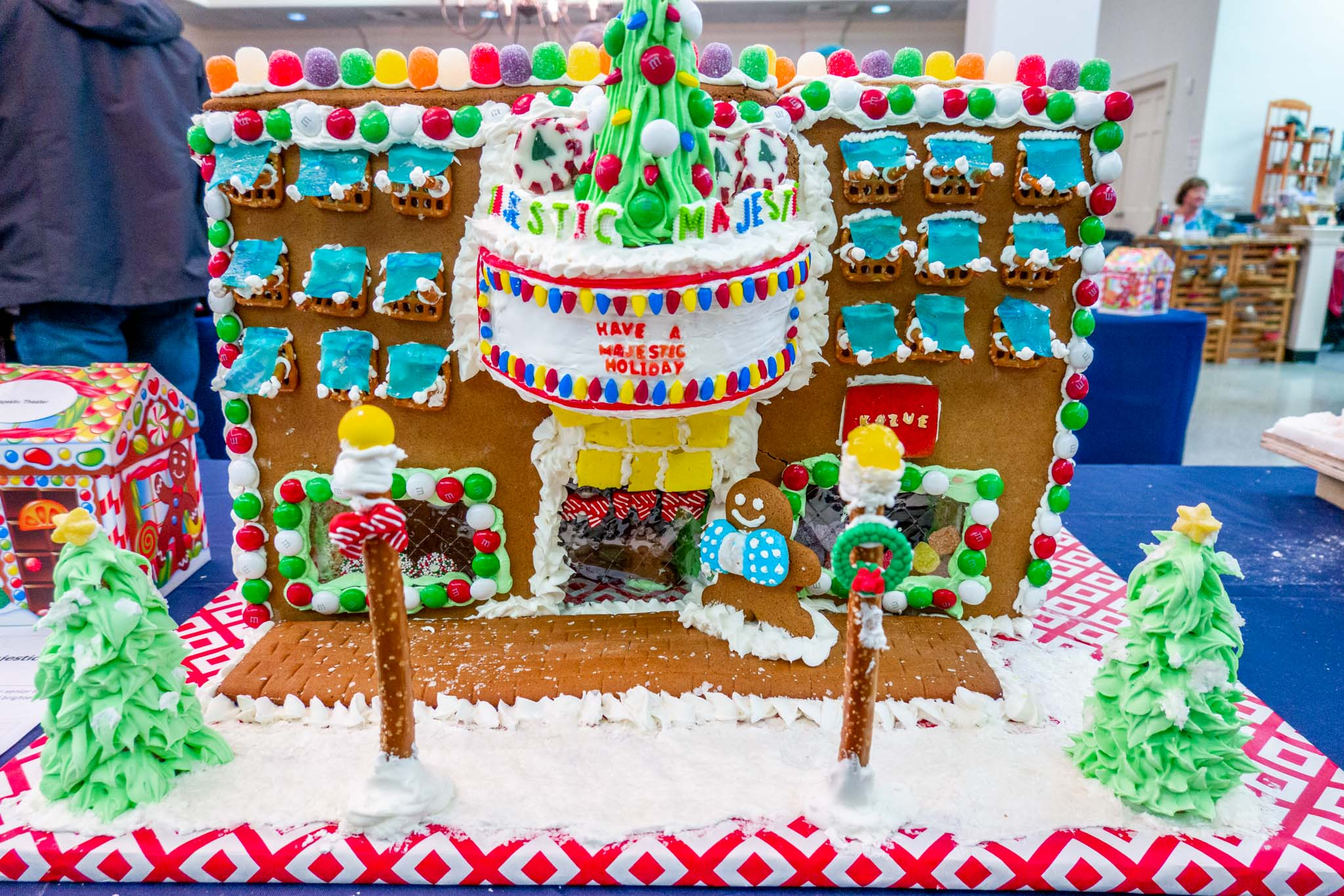 Candy-covered gingerbread house